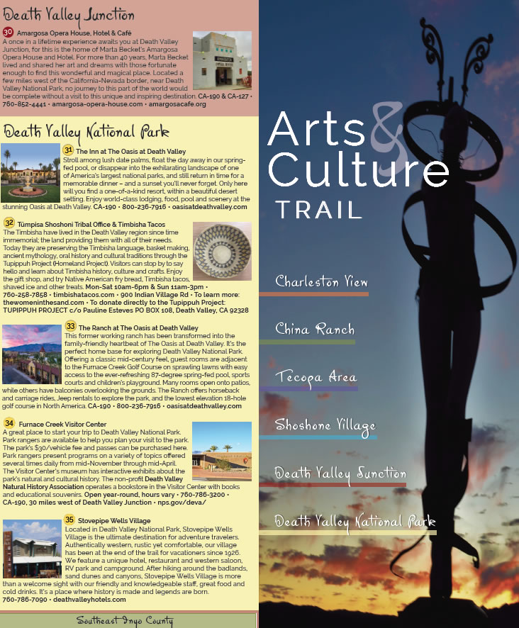 Arts and Culture Trail for Death Valley, Tecopa and Shoshone